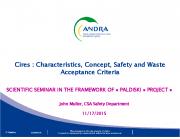 Cires lõppladustuspaik: ohutushinnang ja jäätmepakendite vastavusnäitajad